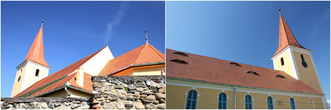 Medieval Church. Old medieval fortified church covered with red tile Stock Photography