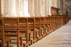 Medieval church. Inside view of a church in medieval times Royalty Free Stock Image