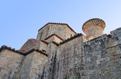 Medieval Church Agia Triada Rhodes. In old town stock photos