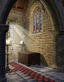 Medieval church aisle. With candles and wooden trunk Royalty Free Stock Photography