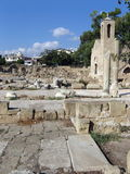 Medieval church and ancient ruins. An archeologic site in Paphos, Cyprus Royalty Free Stock Photos