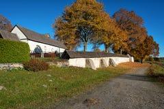 Medieval church during autumn stock photo