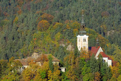 Medieval Church in Bled Stock Images