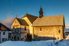 Medieval Church in the Center of Megeve, French Alps Royalty Free Stock Image