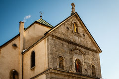 Medieval Church in the Center of Megeve, French Alps Royalty Free Stock Images