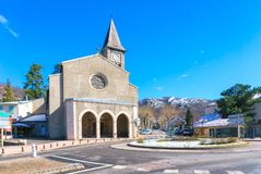 Medieval church on the central square of megeve, French Alps. France royalty free stock photo