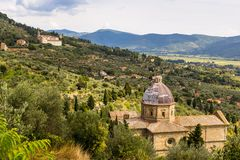 Medieval church in Cortona, Tuscany, Italy Royalty Free Stock Photos