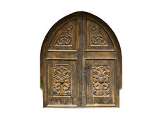 Medieval church door on white. Medieval church door isolated on white Royalty Free Stock Image