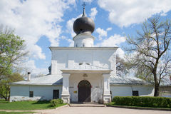 Medieval church of the Dormition of the Mother of God with Paromen'ya. Pskov, Russia Stock Photos