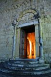Medieval church entrance. In Tuscany, Italy Stock Images