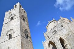 Medieval church in Erice. Medieval church Chiesa Matrice and bell tower in town of Erice, Sicily, Italy Stock Images
