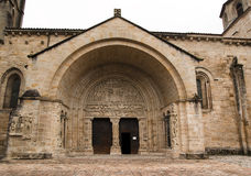 Medieval church facade Beaulieu-sur-Dordogna Royalty Free Stock Images