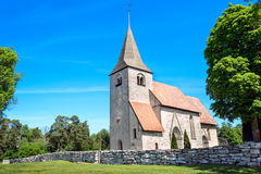 Medieval church in Gotland, Sweden. Bro church - a typical medieval church in the countryside of Gotland, Sweden Stock Image