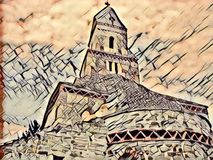 Medieval church - graphic art Stock Image