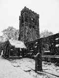 The medieval church in heptonstall in the snow Stock Image