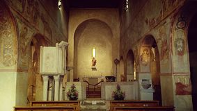 Medieval church interior, Italy Royalty Free Stock Photo