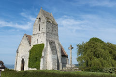 The medieval church, l' Eglise St. Martin de Cricqueboeuf Stock Image