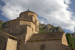 Medieval Church near the Monastery of San Juan de la Pena, Jaca, in Jaca, Huesca, Spain in the Pyrenees Mountains Royalty Free Stock Image
