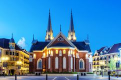 Medieval church night view Stock Photography