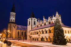 Medieval church. At night in winter royalty free stock photos