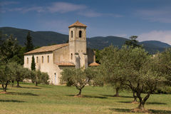 Medieval church in an Olive Grove Stock Photo