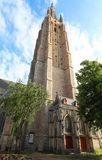 Medieval Church of Our Lady in Bruges in sunny day, Belgium stock photography