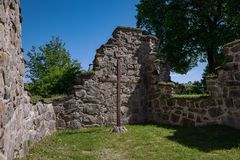 Medieval church ruin in Sweden royalty free stock images