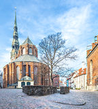 Medieval church of Saint Peter in old city of Riga Royalty Free Stock Image