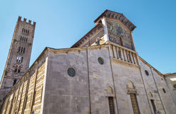 Medieval church of San Frediano, with mosaic in Lucca Stock Images