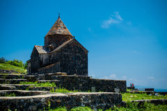 Medieval church on Sevan lake Royalty Free Stock Image