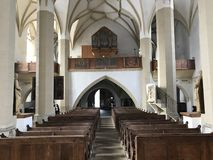 Medieval church in Sighisoara, Romania. Inside of a gothic initialy romano-catholic medieval church in Sighisoara medieval city. The Church from the Hill royalty free stock image