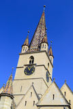 Medieval Church Tower. In Sibiu, Romania Royalty Free Stock Photography