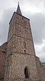 Medieval church with tower Stock Photo