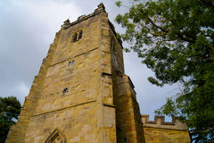 The medieval church tower in England Stock Image