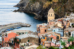 The Medieval Church in the Village of Vernazza Stock Photo