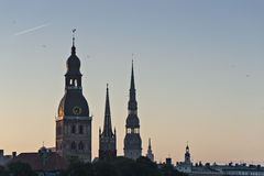 Medieval churches in old Riga, Latvia, Europe Royalty Free Stock Photography