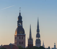 Medieval churches in old Riga, Latvia, Europe Stock Images