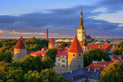 Medieval churches and towers in the old town of Tallinn, Estonia Royalty Free Stock Photos