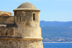 Medieval citadel. The tower and walls of the medieval citadel in Ajaccio, Corsica that used to protect the town in the times of Napoleon Stock Photo