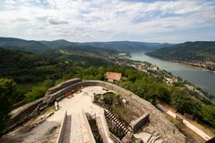 View from the castle of Visegrad, Hungary stock images