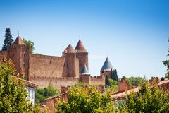Medieval citadel city of Carcassonne in France. Medieval citadel city of Carcassonne in the South of France royalty free stock image