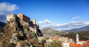 Medieval citadel in Corte, a city in the mountains, France, the. Island of Corsica. Beautiful city landscape royalty free stock photos