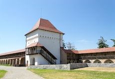 Medieval citadel fortified walls. Targu-Mures medieval citadel fortified walls with main tower and entrance gate, Transylvania, Romania stock photos