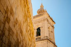 Spire in the medieval citadel of Gozo Royalty Free Stock Photos