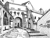 Medieval Citadel Sketch Royalty Free Stock Photography