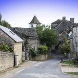 Medieval city of Auxillac Stock Photos