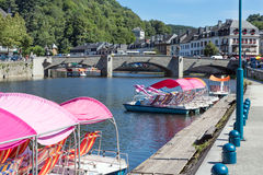 Medieval city Bouillon with river Semois and pedalos in Belgium Stock Image