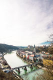 Medieval city of Burghausen and Salzach in Germany Stock Images