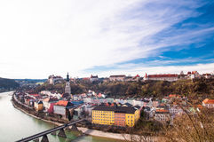 Medieval city of Burghausen and Salzach in Germany Stock Photo