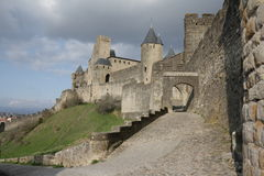 Medieval city of Carcassonne , France. Medieval city of Carcassonne in Aude, Occitanie in South of France Stock Image